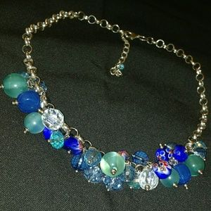 Round Blue Crystal Sphere Bead Silvertone Necklace